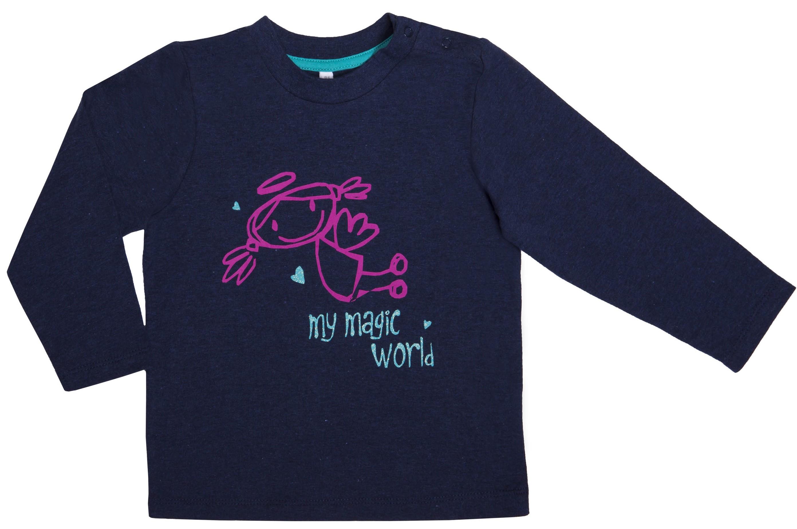 Футболки Barkito Футболка с длинным рукавом для девочки Barkito, Принцесса 1, синяя футболки barkito футболка с длинным рукавом для мальчика barkito монстр трак синяя