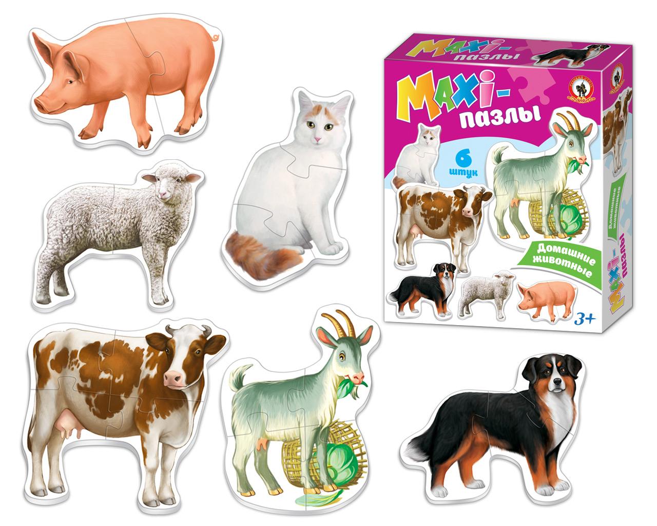 Макси-пазл Русский стиль Домашие животные коврик пазл животные 12 элементов