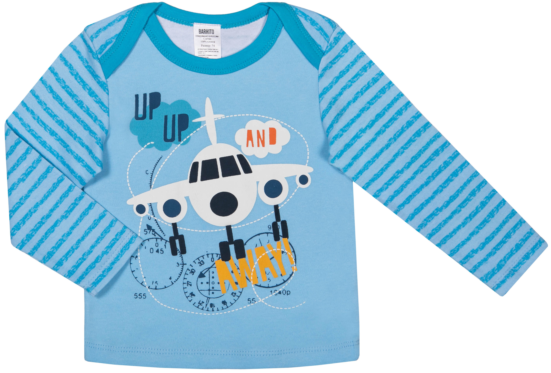 Купить Футболка длинный рукав для мальчика, Маленький пилот белая с рисунком, голубая, 1шт., Barkito S18B0113U, Узбекистан, белый с рисунком, голубой, Мужской