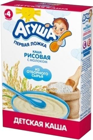 Каши Агуша Каша молочная Агуша рисовая с 4 мес. 200 г молочная готовая смесь агуша 1 3 4% с рождения 200 мл