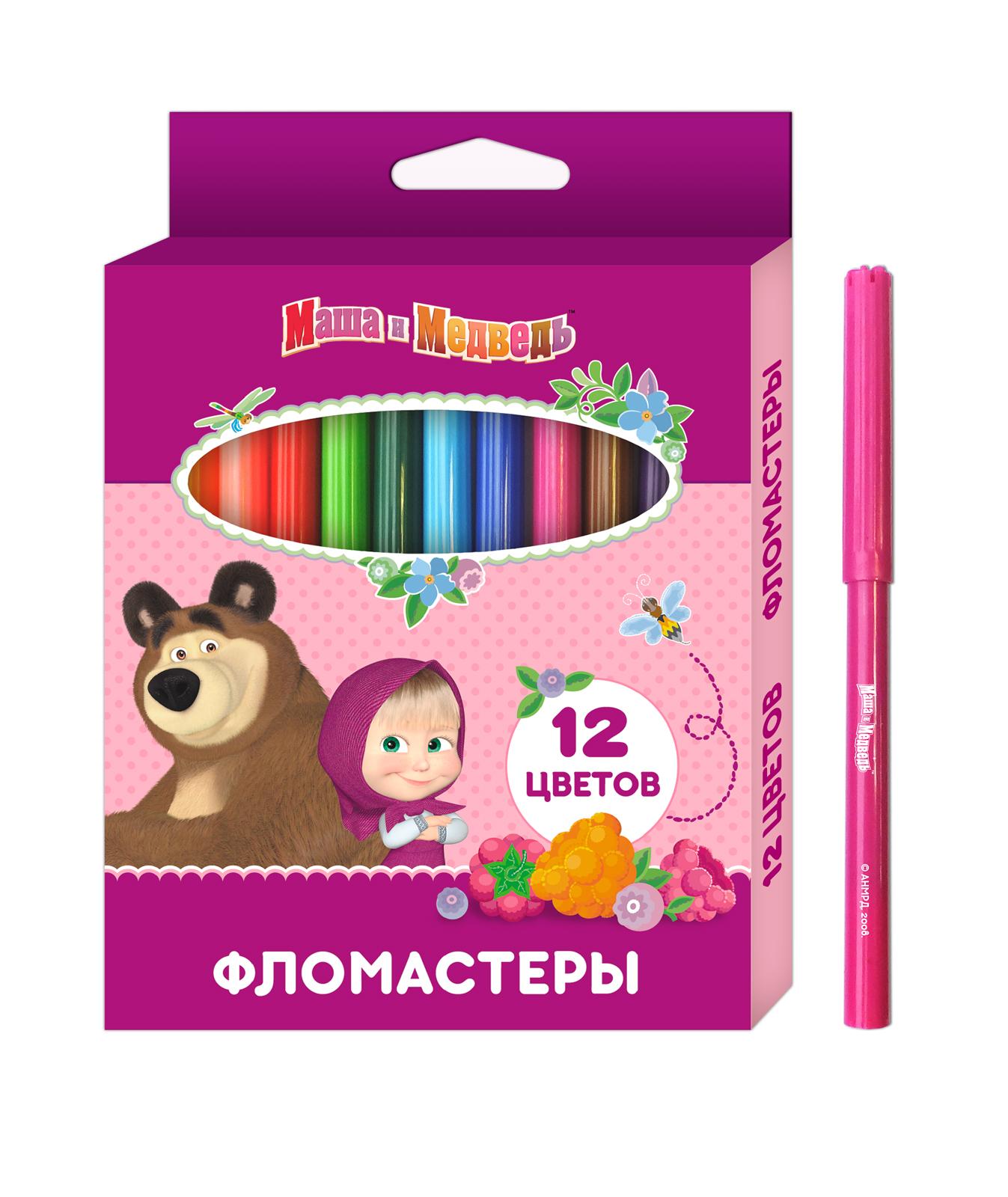 Фломастеры Маша и Медведь 12 цветов фломастеры маша и медведь 12 цв толстые