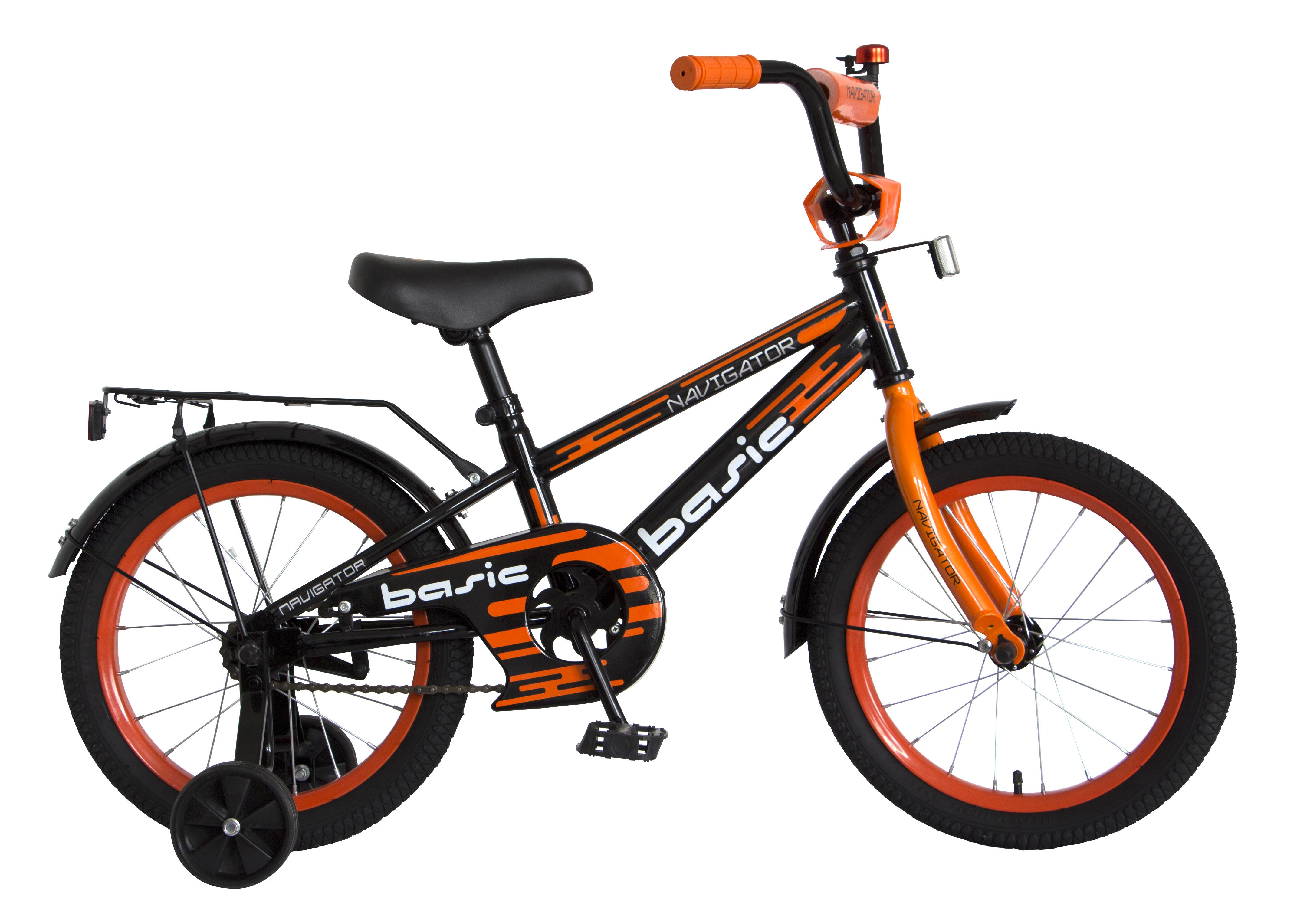 Велосипед двухколесный Navigator Basic 16 черный с оранжевым