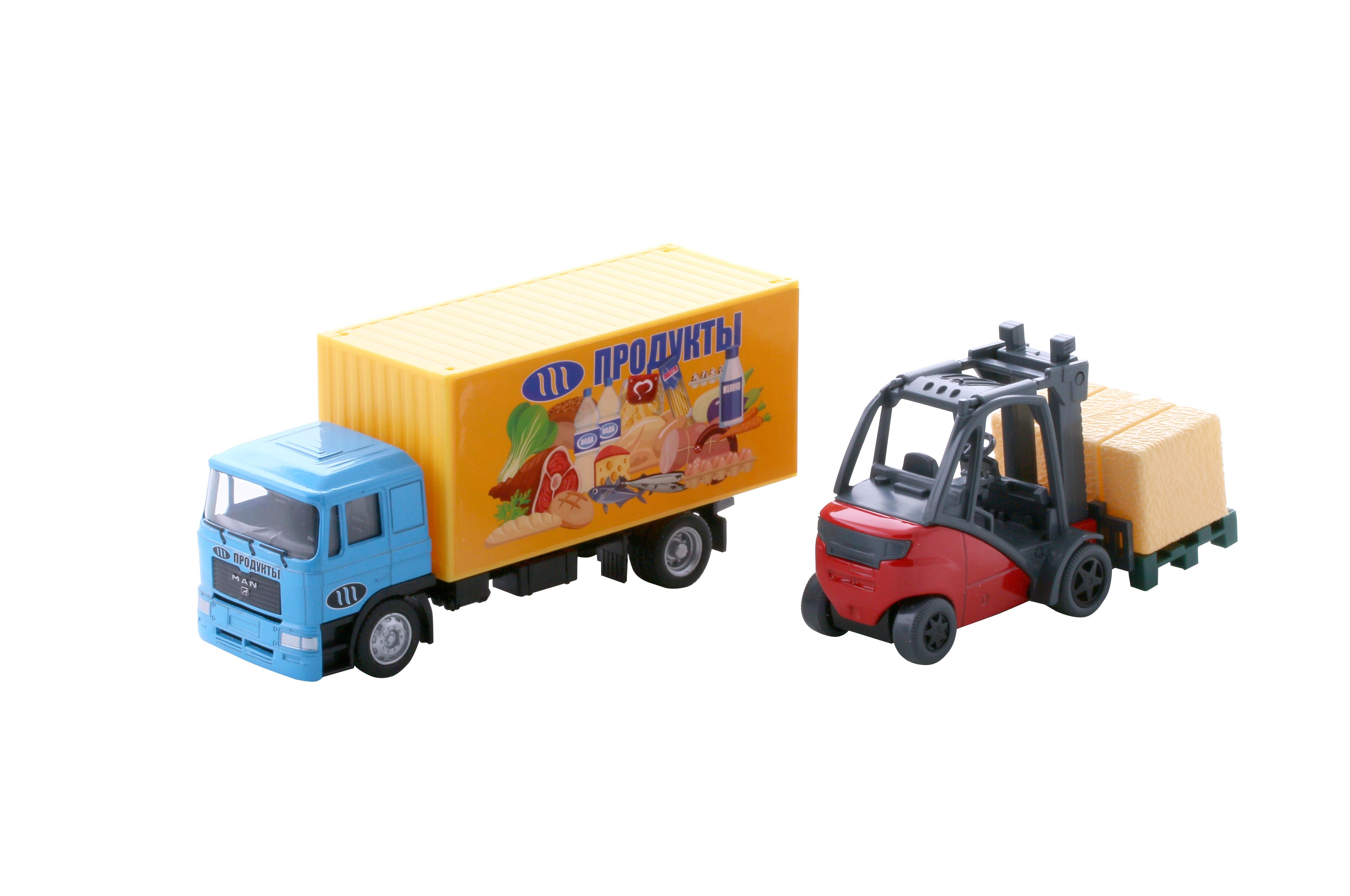 Грузовики и самосвалы WinCars Автофургон с погрузчиком 1:45 tomy трактор john deere 6830 с двойными колесами и фронтальным погрузчиком с 3 лет