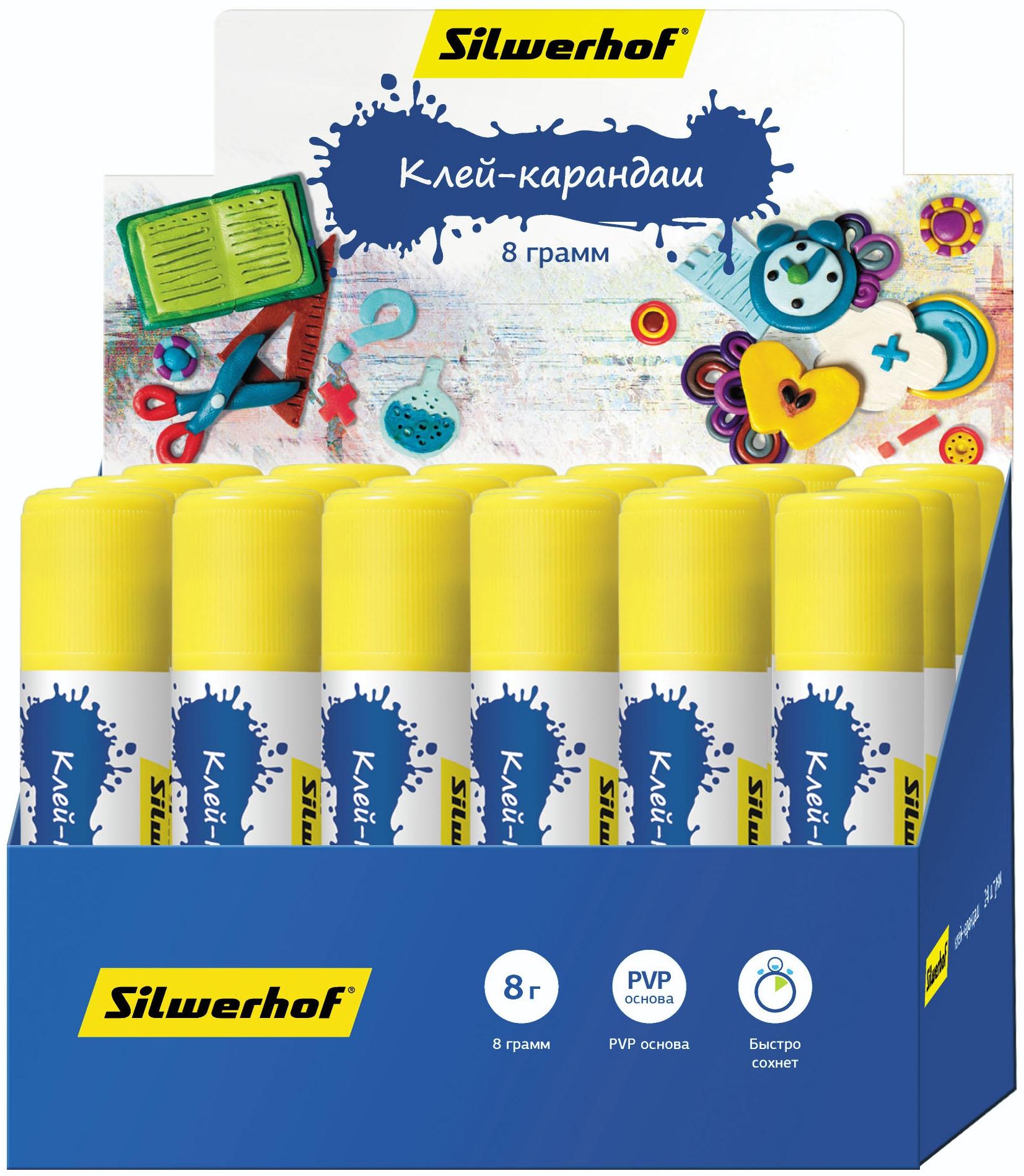 цена на Клей-карандаш Silwerhof Пластилиновая коллекция 8 г
