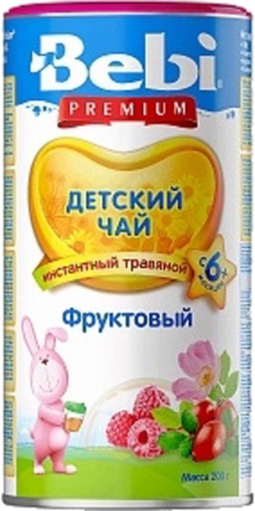Детский чай Bebi Чай детский Bebi Premium фруктовый с 6 мес. 200 г каша молочная bebi premium злаки с малиной и вишней с 6 мес 200 г