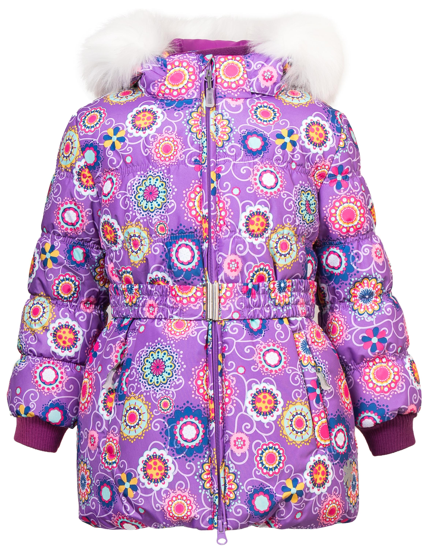 Купить со скидкой Куртка зимняя для девочки Barkito, сиреневая с рисунком