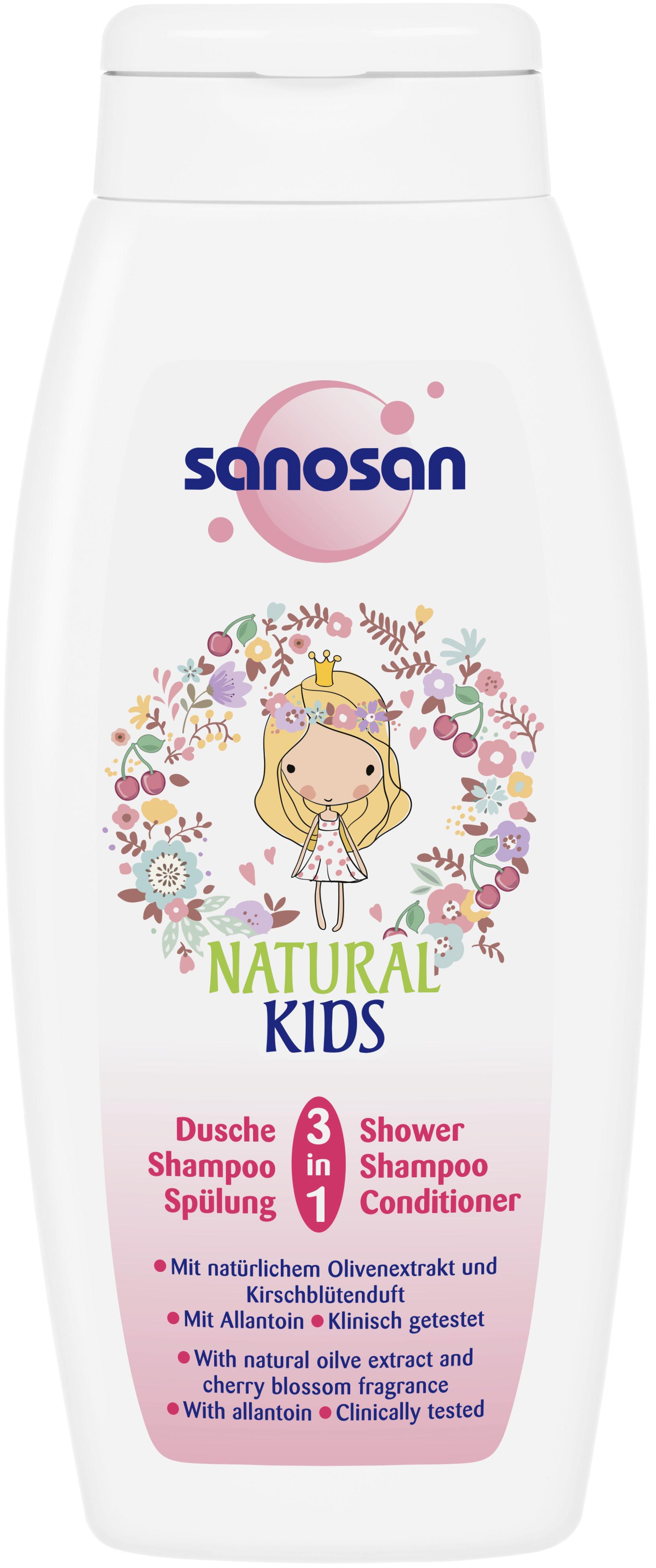 Фото Шампуни и бальзамы Sanosan Средство 3 в 1 Sanosan гель для душа, шампунь и кондиционер для девочек 250 мл