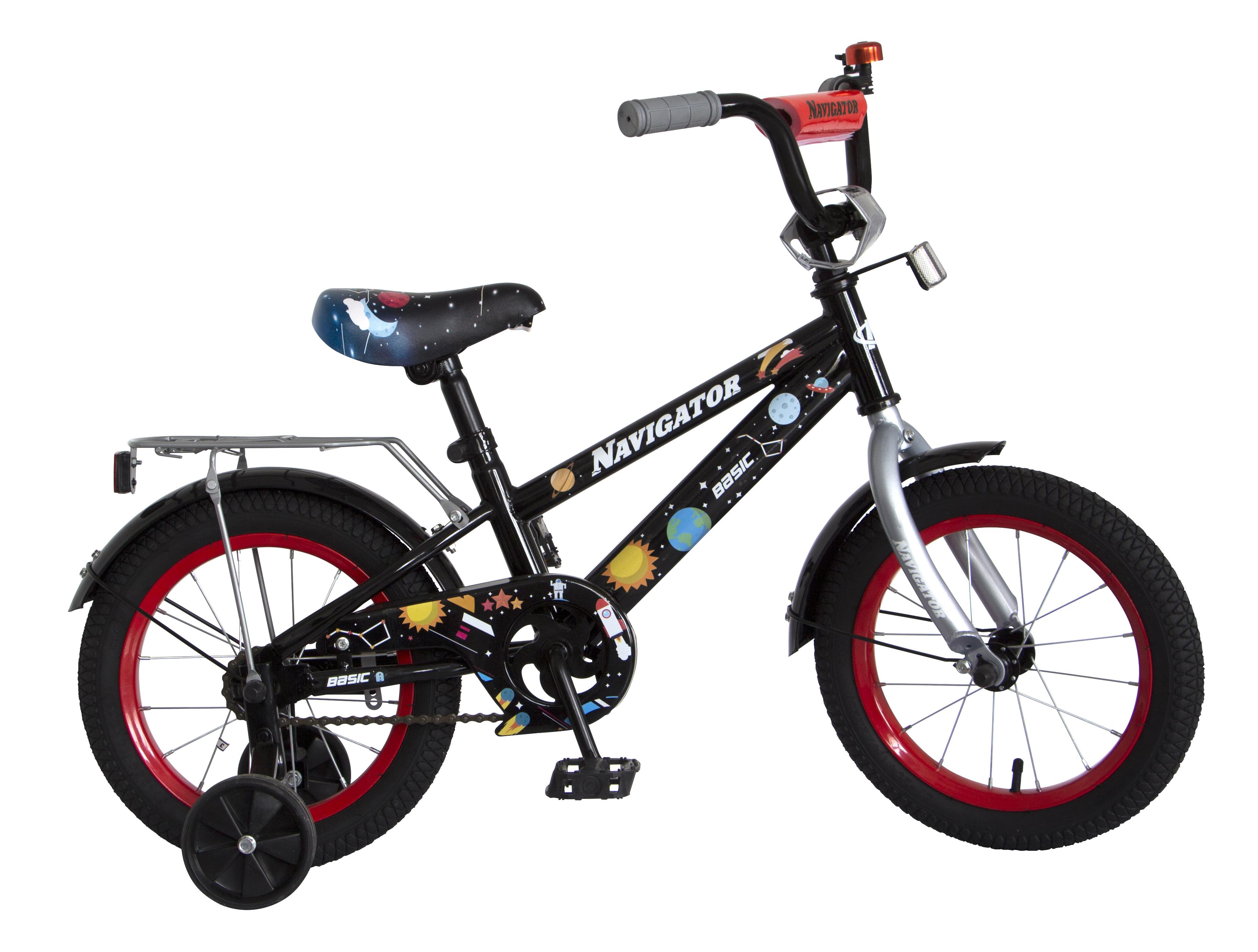 Велосипеды двухколесные Navigator Basic 14 черный велосипед navigator basic бело зеленый