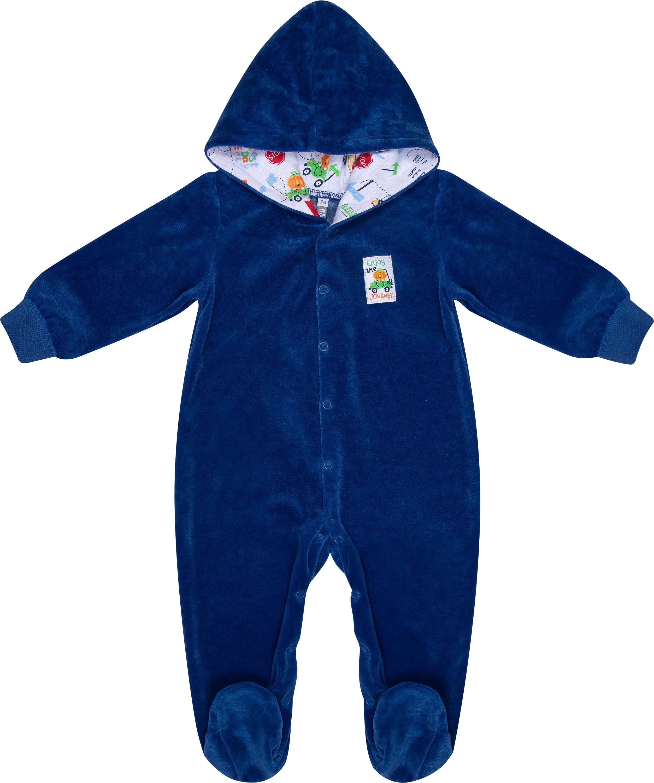 Купить Первые вещи новорожденного, Комбинезон велюровый детский Barkito «Зверята», синий, Россия