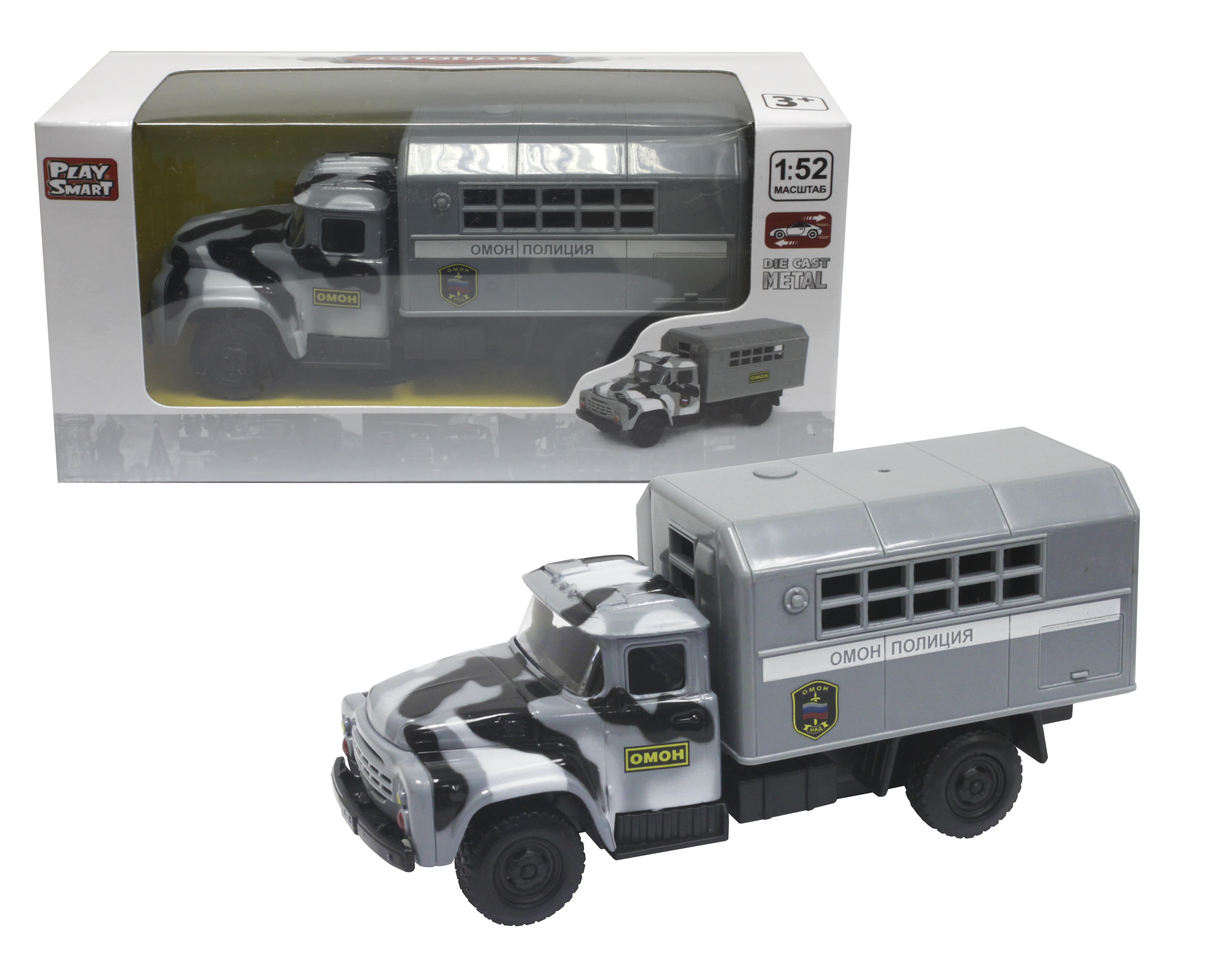 Грузовики и самосвалы PlaySmart Инерционный грузовик PlaySmart «ЗИЛ (ОМОН)» 1:52 машины fun toy грузовик инерционный электромеxанический 44404 6