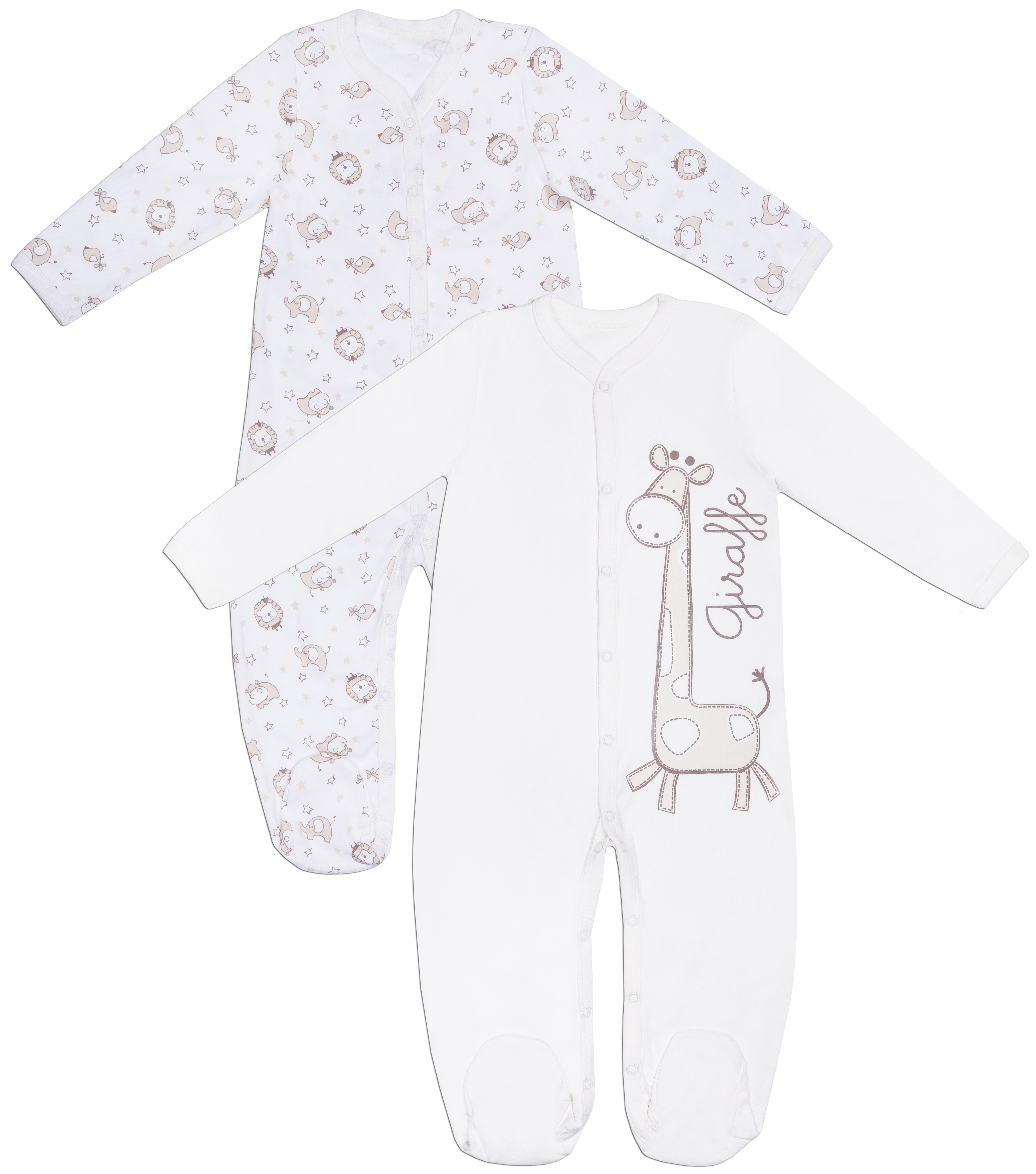 Купить Первые вещи новорожденного, Бегемотики, Barkito, Россия, экрю с рисунком /экрю