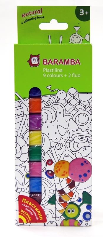 Пластилин Baramba 11 шт 25 г в картонной коробке с раскраской ручки и карандаши baramba треугольные в картонной коробке 13шт вкладыш раскраска