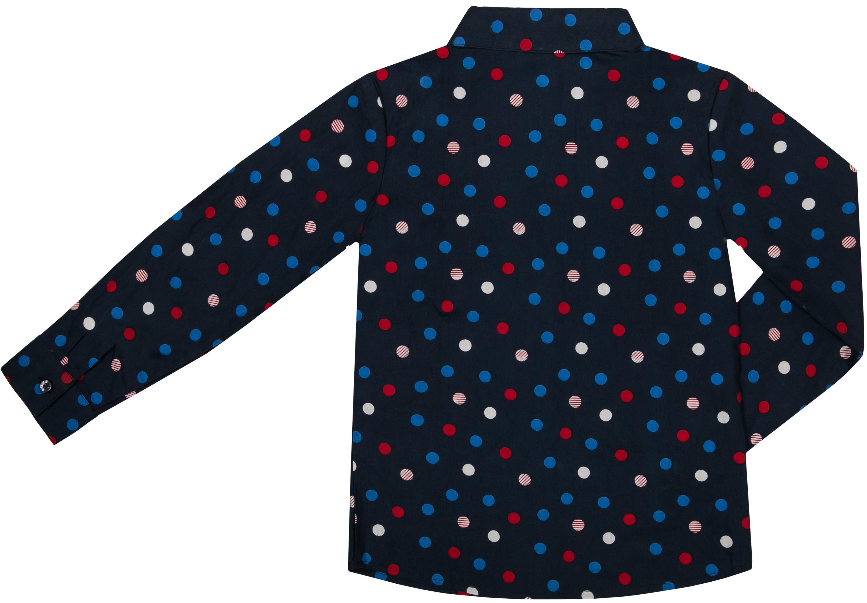 """Купить со скидкой Блузка для девочки Barkito """"Фантазия"""", синяя с рисунком в горошек"""