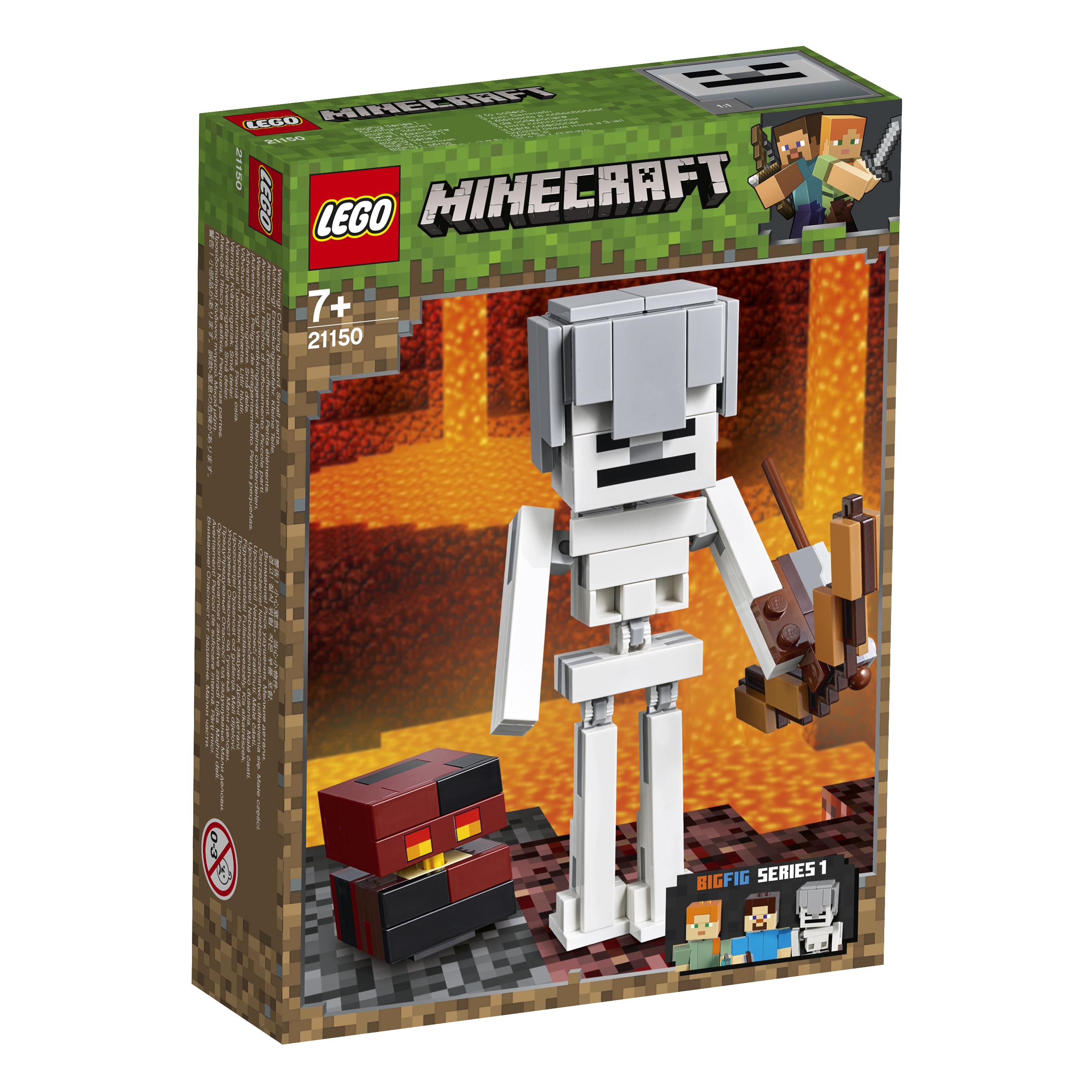 Конструктор LEGO Minecraft 21150 Большие фигурки Minecraft, скелет с кубом магмы bandai фигурка minecraft mine charact box zombie 4 см