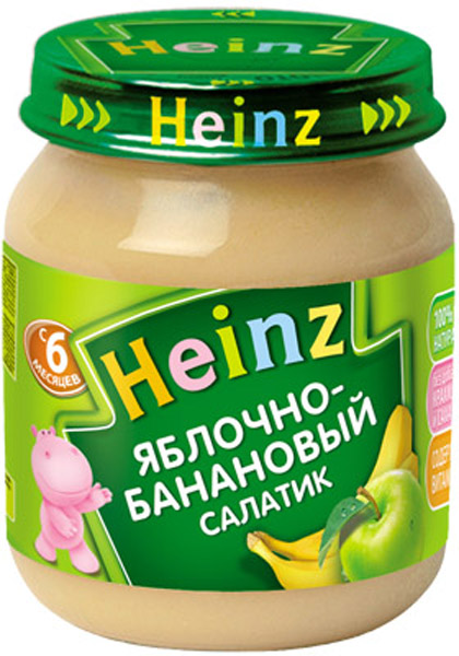 Пюре Heinz Пюре Heinz Яблочно-банановый салатик 6 мес. 120 г пюре heinz фруктовое 120 гр грушка и черничка с печеньем с 6 мес