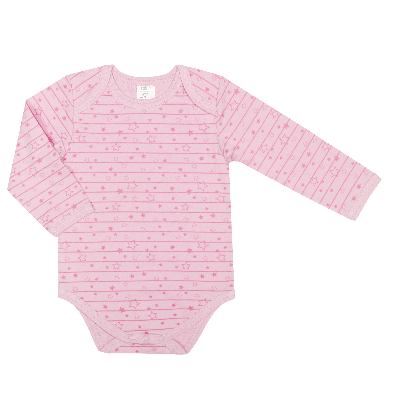 Первые вещи новорожденного Barkito Боди с длинным рукавом для девочки Barkito Звёздочки, розовое боди и песочники little me боди с длинным рукавом
