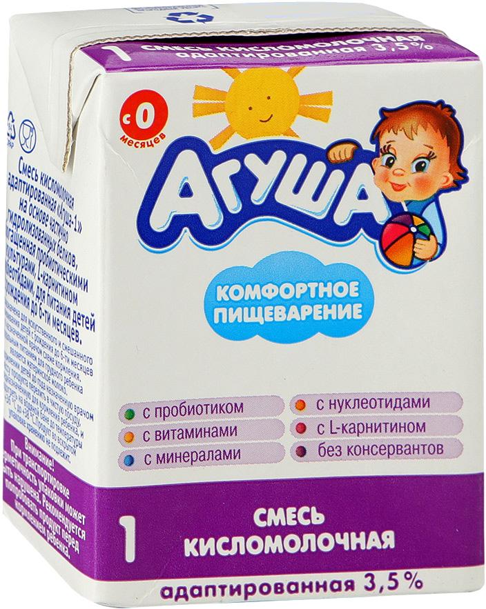 Молочная продукция Агуша Готовая кисломолочная смесь Агуша-1 3,5% с рождения 204 мл молочная продукция агуша молоко стерилизованное с пребиотиком 2 5% 200 мл