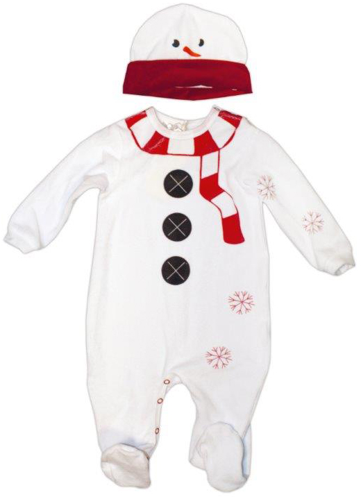 Купить Первые вещи новорожденного, Снеговик: комбинезон и шапочка, Новый год, Barkito, Россия, white, Мужской