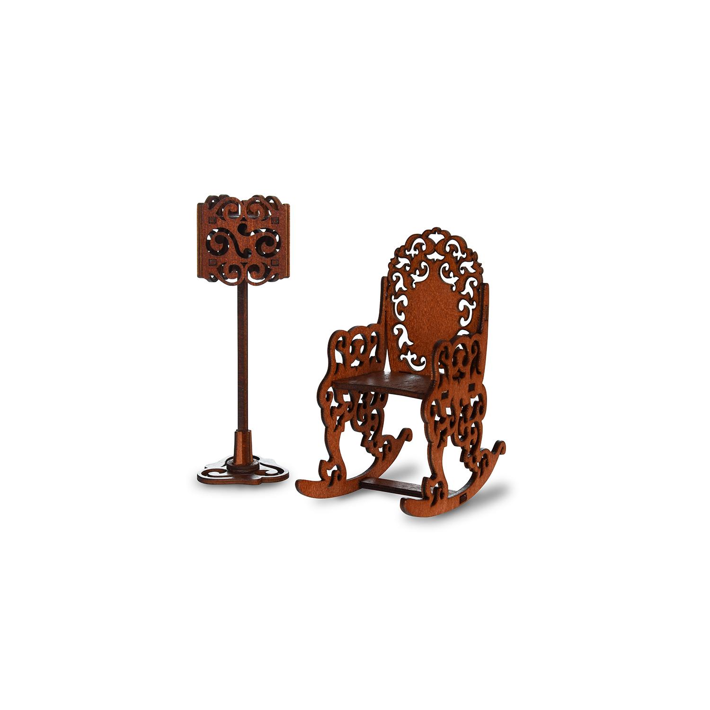 Мебель для кукол ЯиГрушка Набор мебели ЯиГрушка «Качалка и торшер» коричневый качалка yoyo rock пони с колесами плюшевый музыкальный коричневый gs1010w