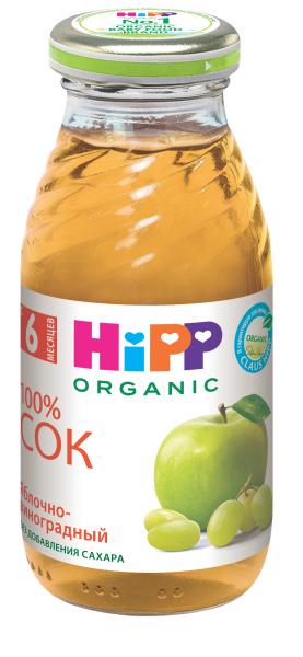 Сок HIPP Hipp Яблочно-виноградный с 6 мес. 200 мл hipp морковно рисовый отвар орс 200 с 4 мес