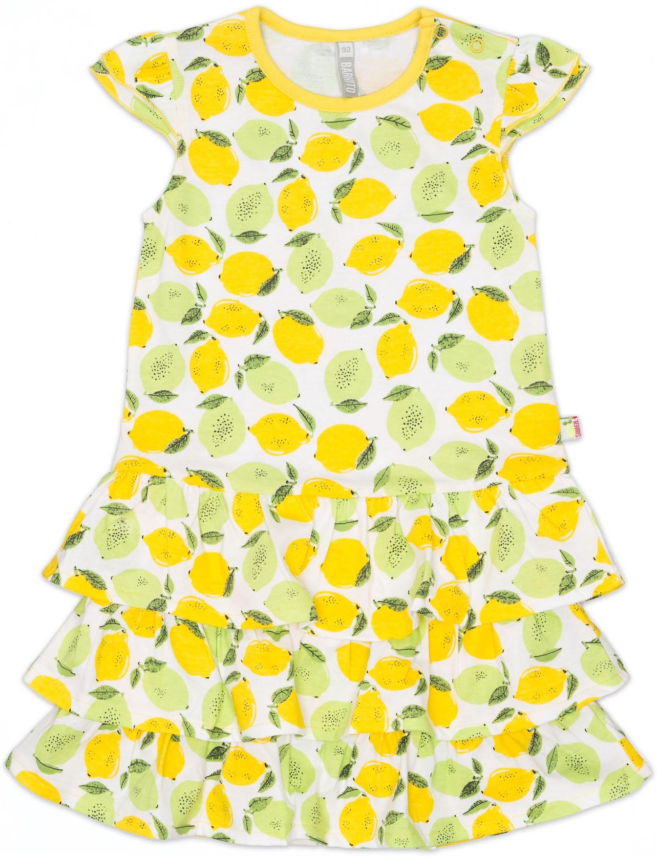 """Купить со скидкой Платье без рукавов трикотажное Barkito, """"Лимончики"""", белый, с рисунком """"лимончики&quo"""