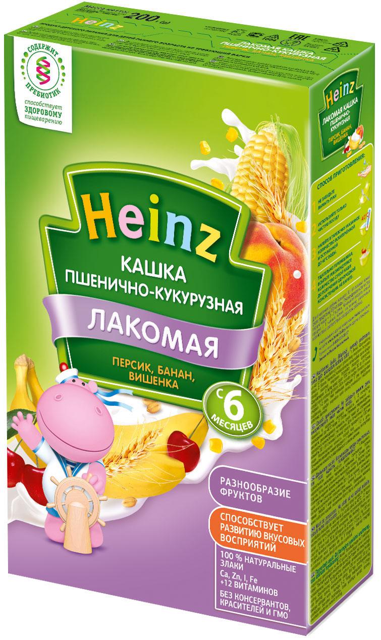 Каши Heinz Каша молочная Heinz Лакомая пшенично-кукурузная с персиком, бананом, вишенкой с 6 мес. 200 г каши heinz молочная лакомая пшеничная каша абрикос персик вишенка с 5 мес 200 г