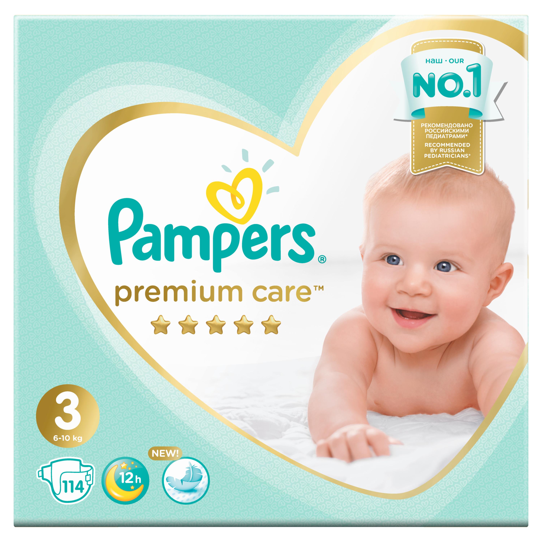 Подгузники Pampers Premium Care Midi 3 (6-10 кг) 114 шт. трусики подгузники pampers pants midi 6 11 кг 3 размер 120 шт