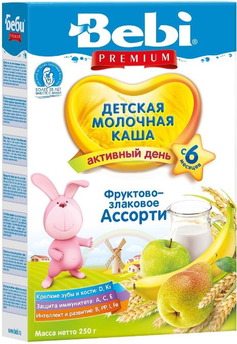 Каши Bebi Каша молочная Bebi Premium фруктово-злаковое ассорти с 6 мес. 250 г каши bebi молочная каша premium 7 злаков с 6 мес 200 г