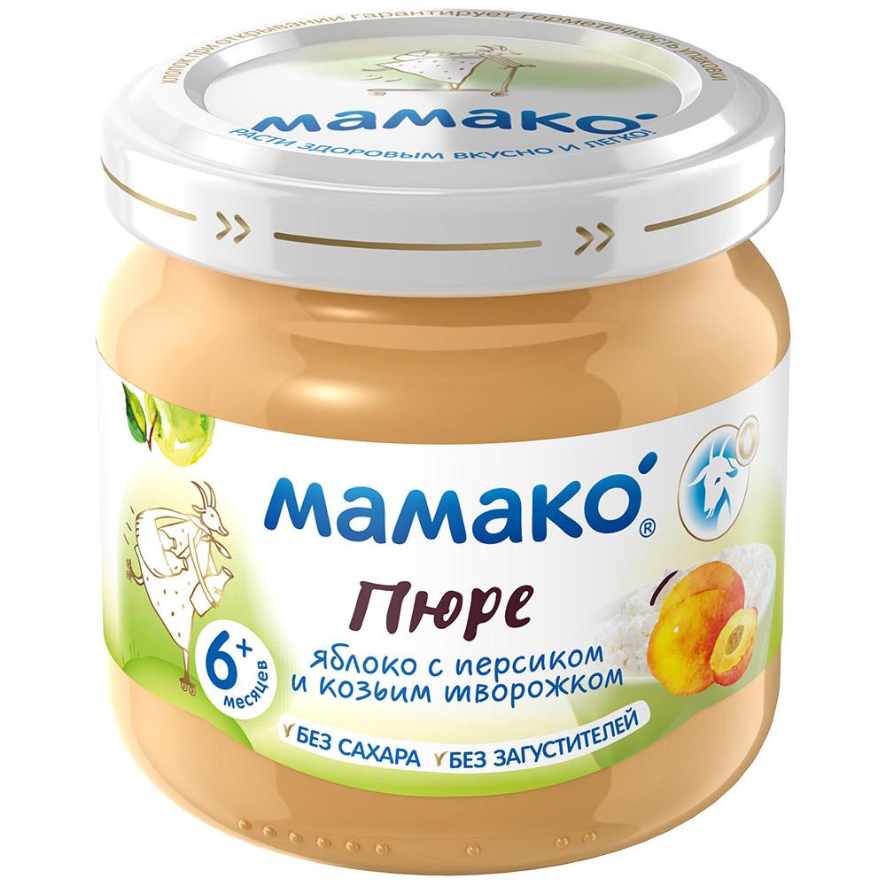Фруктовое МАМАКО' Пюре Мамако Яблоко, персик и козий творожок с 6 мес. 80 г бибиколь пюре яблоко и козий творожок с 6 месяцев 80 г