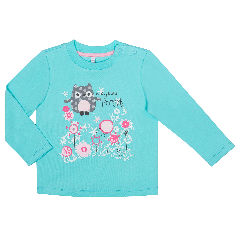 """Футболки Barkito Футболка с длинным рукавом для девочки Barkito """"Сказочный лес 2"""", голубая футболка с длинным рукавом для девочки barkito сказочный лес 1 розовая"""