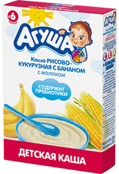 Каши Агуша Каша молочная Агуша рисово-кукурузная с бананом с 6 мес. 200 г каши bebi молочная каша premium 7 злаков с 6 мес 200 г