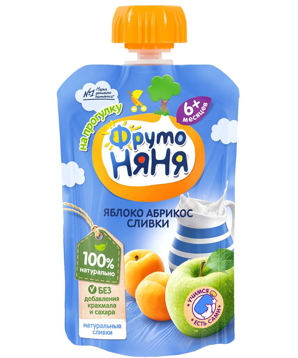 Пюре Прогресс ФрутоНяня Из яблок и абрикосов со сливками (с 6 месяцев) мягкая упаковка 90 г