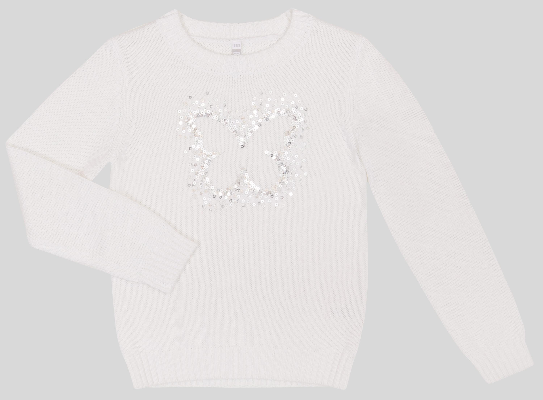 Пуловер для девочки Barkito Весенние бабочки, белый пуловер с круглым вырезом из хлопка и льна