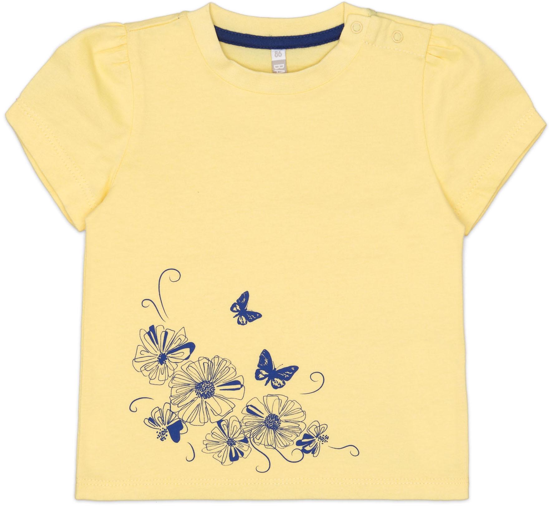 Купить Футболки, Футболка с коротким рукавом для девочки Barkito Цветочное лето желтая, Узбекистан, желтый, Новорожденный