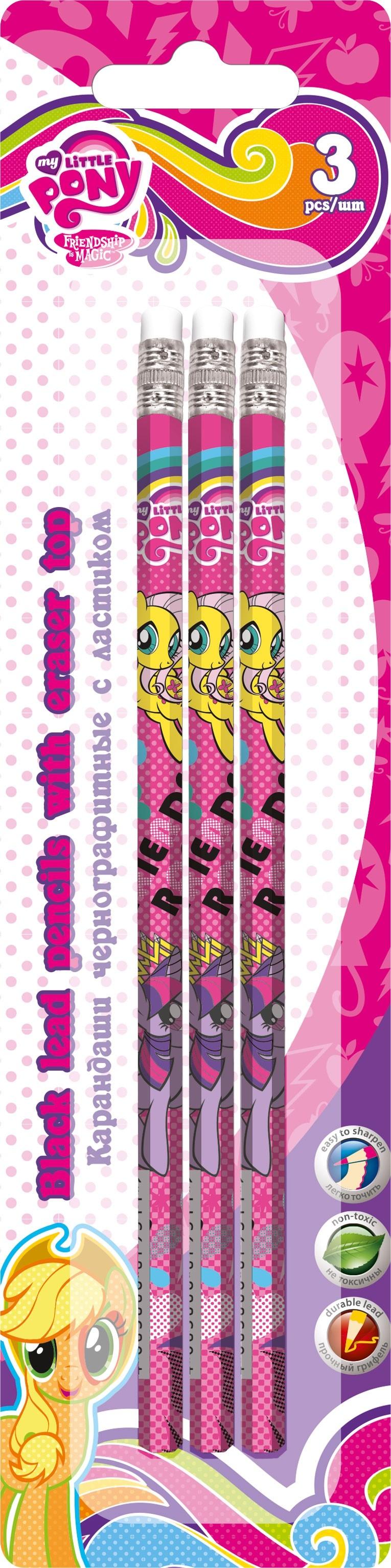 Набор чернографитных карандашей My Little Pony 3 шт. lego friends набор чернографитных карандашей 6 шт 51594