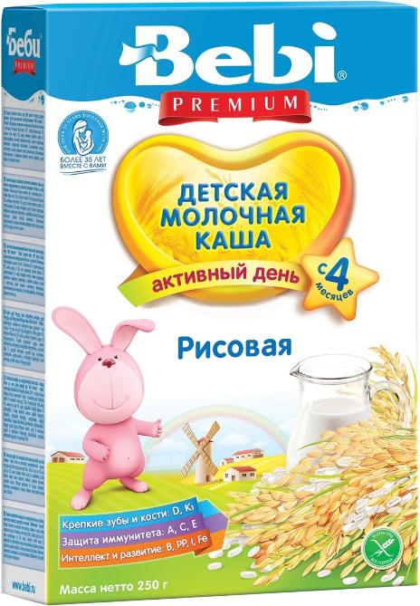 Каши Bebi Каша молочная Bebi Premium «Активный день» рисовая с 4 мес. 250 г каши bebi молочная каша premium 7 злаков с 6 мес 200 г