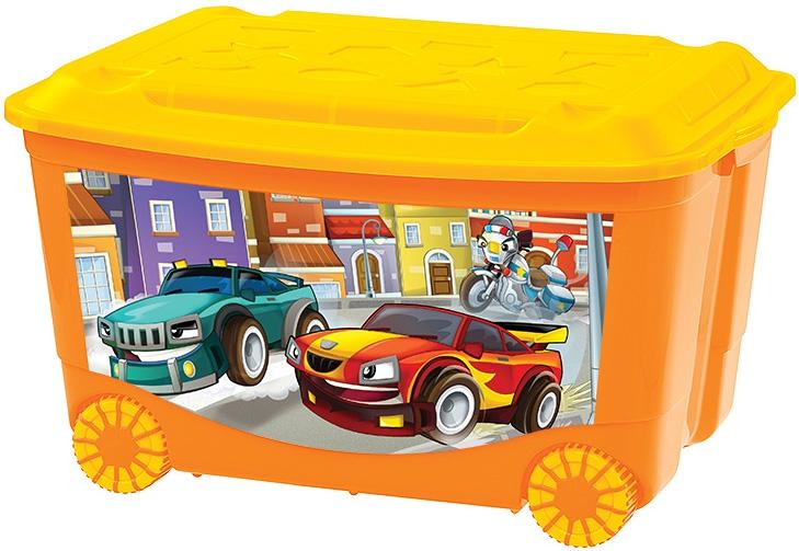 все цены на Хранение игрушек Пластишка Ящик для игрушек на колесах 50л. онлайн