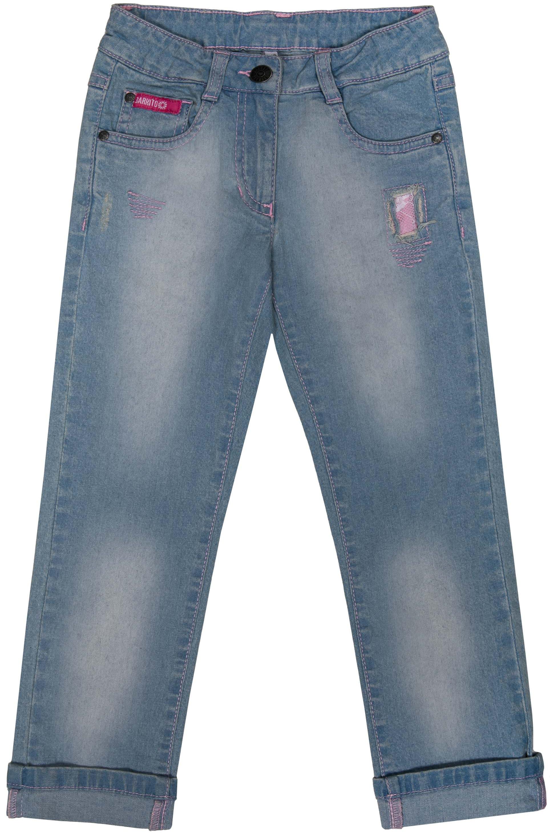 Джинсы Barkito Брюки модель Джинсы для девочки Barkito Деним, голубые брюки джинсы и штанишки s'cool брюки для девочки hip hop 174059