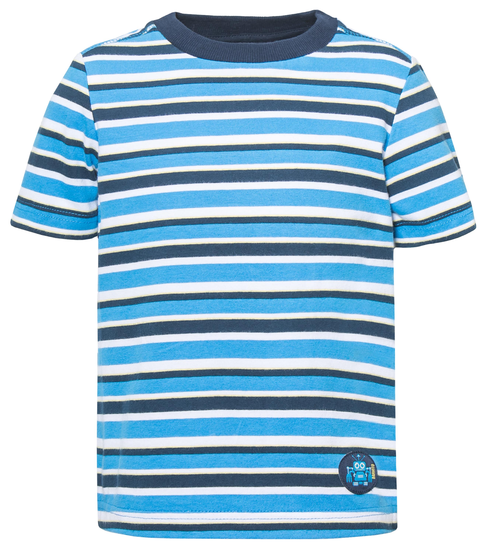 Футболка с коротким рукавом для мальчика Barkito База голубая с рисунком в полоску легинсы barkito база голубой с рисунком бабочки
