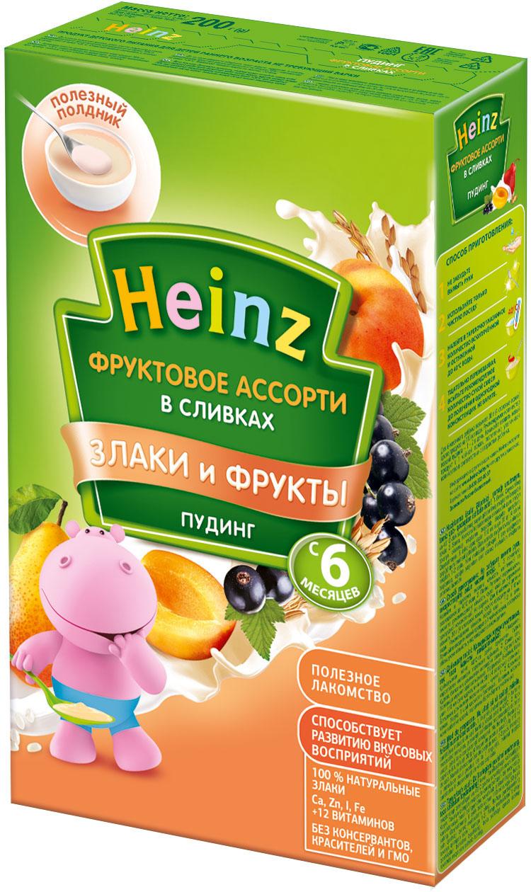 Молочная каша Heinz Heinz Молочный пудинг фруктовое ассорти в сливках (с 6 месяцев) 200 г пюре heinz пудинг молочный быстрорастворимый фруктовое ассорти в сливках 6 месяцев 15 шт по 200 г