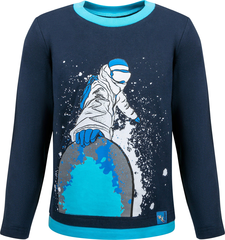 Футболки Barkito Футболка с длинным рукавом для мальчика Barkito Сноубординг, темно-синяя футболка с длинным рукавом для мальчика barkito супергерой темно синяя