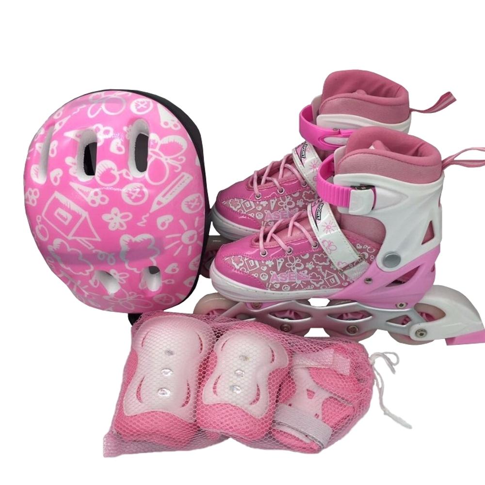 Ролики и скейтборды ASE-SPORT Набор: ролики, защита, шлем Ase-sport «ASE-620 Combo» pink-white XS (27-30) ролики maxcity ролики spark