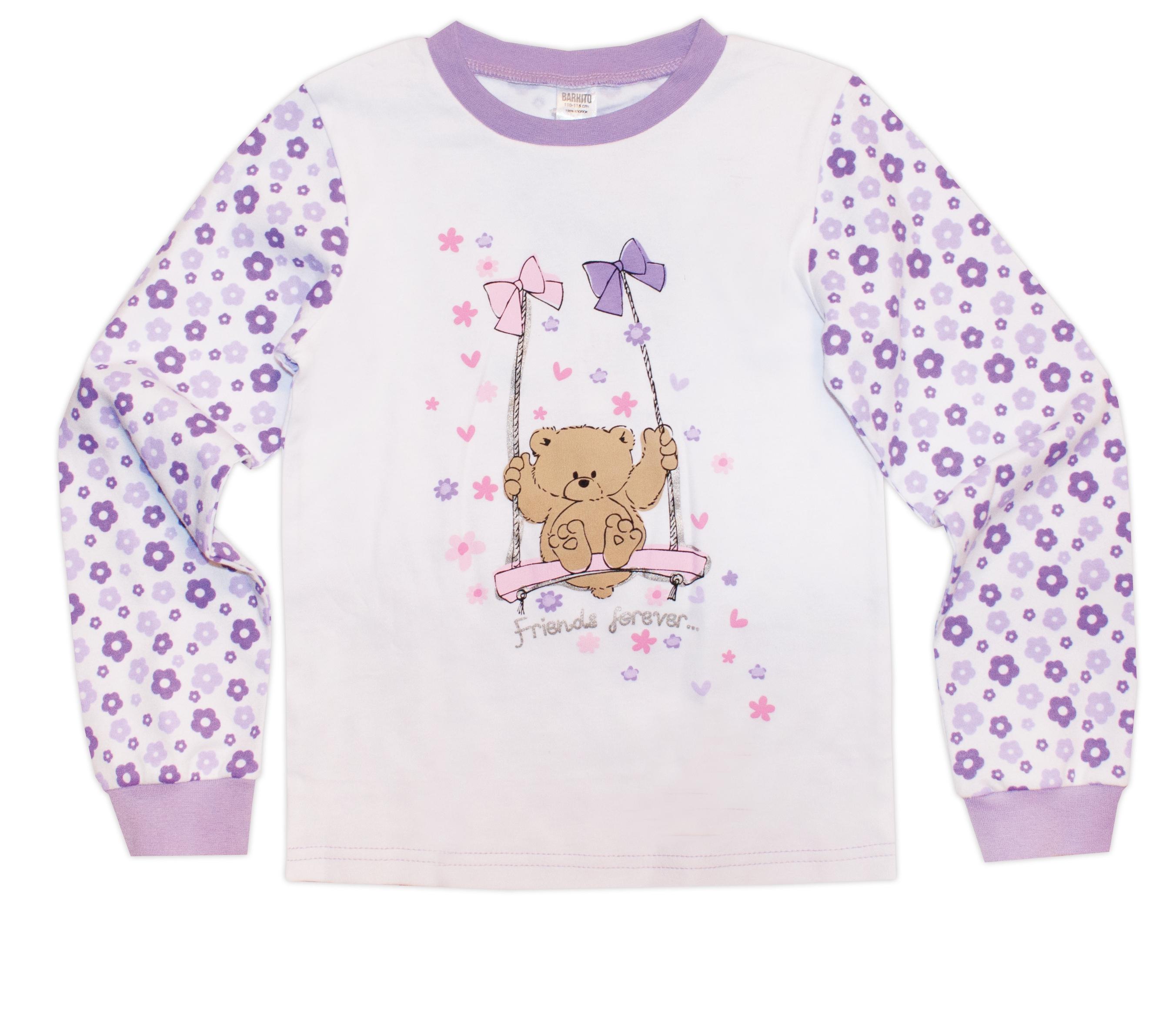 Пижамы Barkito Пижама для девочки с длинным рукавом Цветы Barkito пижама с шортами с рисунком