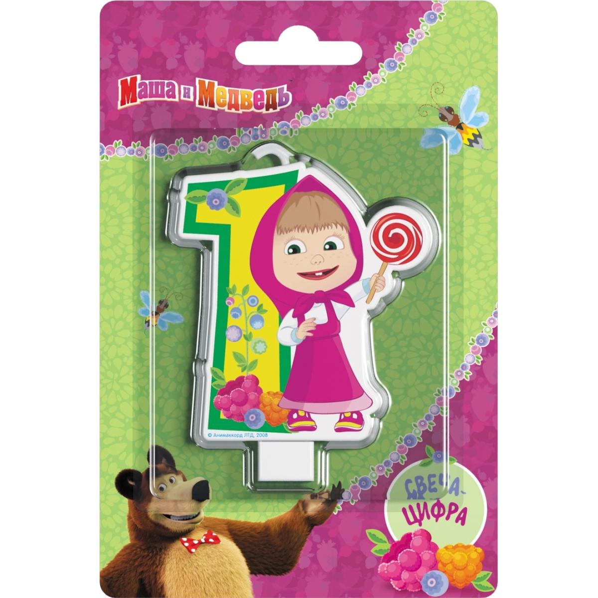 Декор Маша и Медведь Свеча Маша и Медведь «Цифра 1» кукла маша в красном сарафане маша и медведь