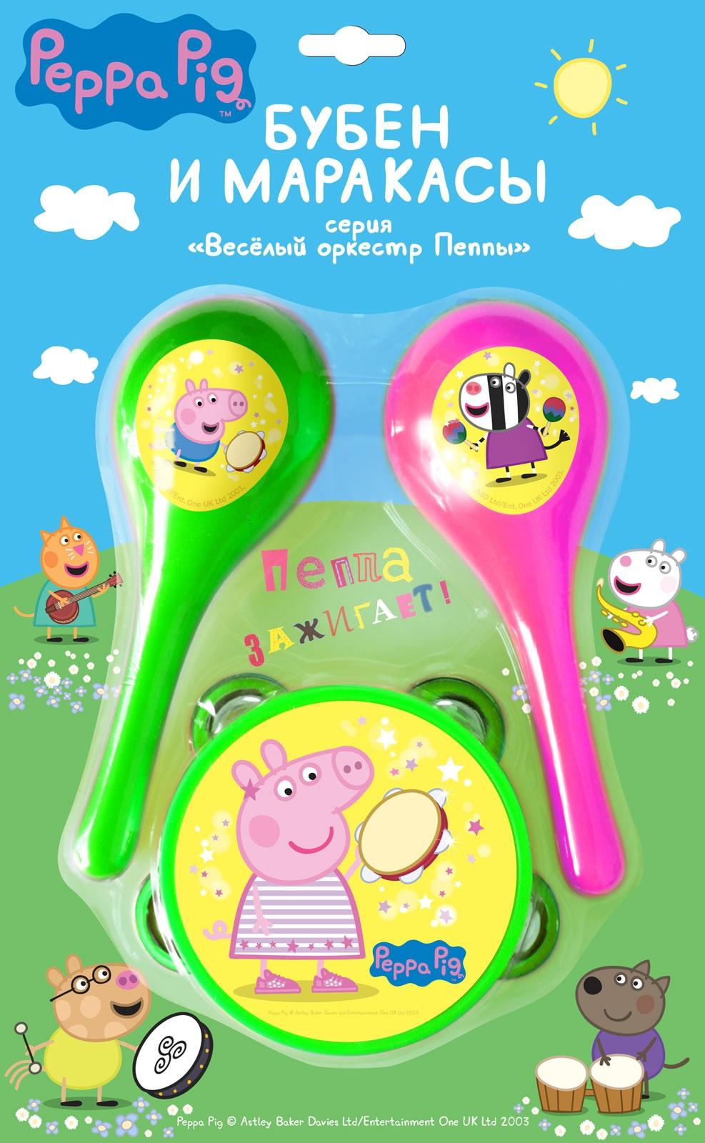 Купить Набор, Бубен и маракасы, 1шт., Peppa Pig 30569, Китай, розовый, зелёный