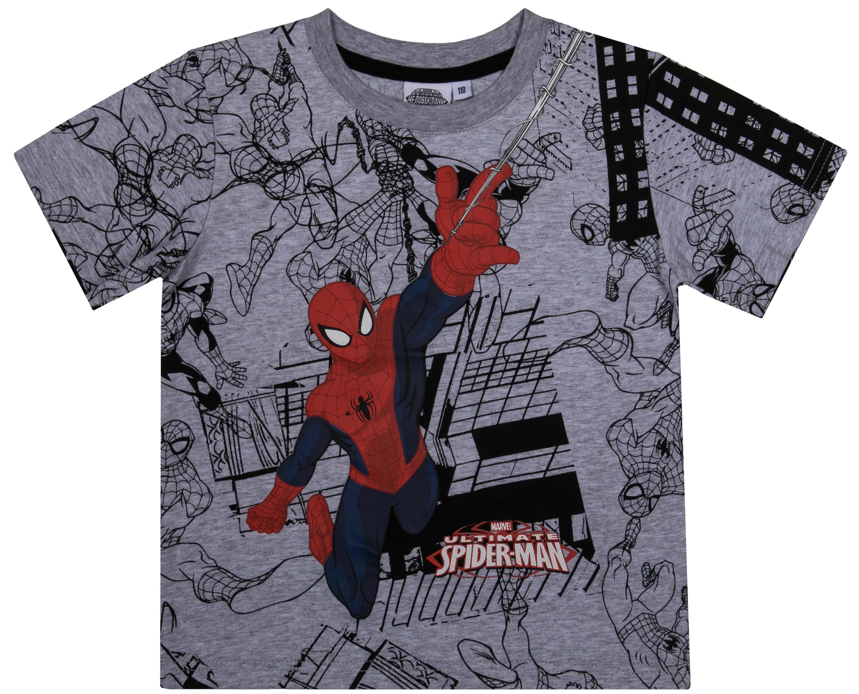 Купить со скидкой Футболка с коротким рукавом для мальчика Spider-man, серая с рисунком