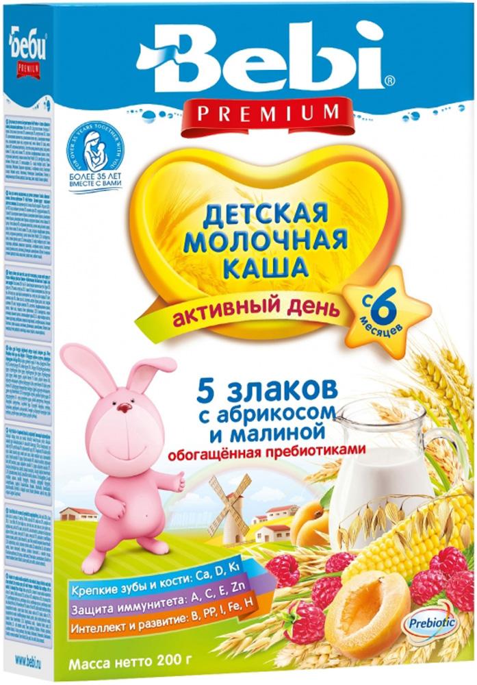 Молочные Bebi Каша молочная Bebi Premium «Активный день» 5 злаков с абрикосом и малиной с 6 мес. 200 г молочно овсяная с бананом с пребиотиками жидкая с 6 мес 200 мл