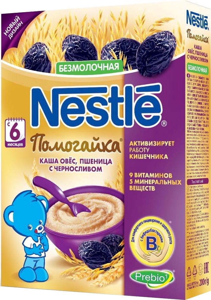 Каши Nestle Каша Nestle безмолочная овес, пшеница с черносливом с 6 мес. 200 г каша безмолочная nestle помогайка из овса и пшеницы с черносливом с 6 мес 200 г