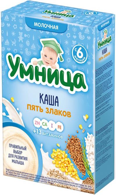 Каши Умница Умница Молочная 5 злаков (с 6 месяцев) 200 г каши bebi молочная каша premium 7 злаков с 6 мес 200 г