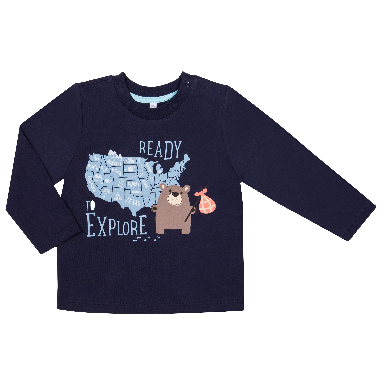 Футболки Barkito Футболка с длинным рукавом для мальчика Barkito Отважные приключения 2, темно-синяя футболка с длинным рукавом для мальчика barkito супергерой темно синяя